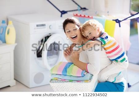 szennyeskosár · összehajtva · ruházat · fehér · divat · kosár - stock fotó © is2