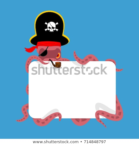 Octopus pirate and blank sign. poulpe buccaneer. Eye patch and s Stock photo © popaukropa