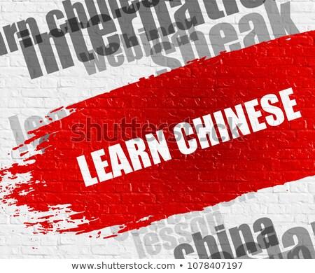 learn chinese on white brickwall stock photo © tashatuvango