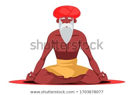 Indiano lótus posição ioga turbante Foto stock © popaukropa