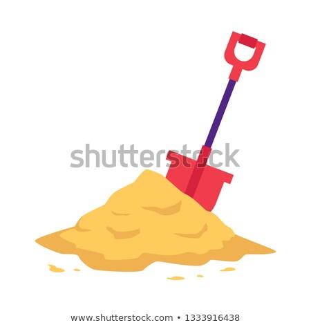 Citromsárga homok ásó homokos tengerpart tengerpart gyerekek Stock fotó © 5xinc