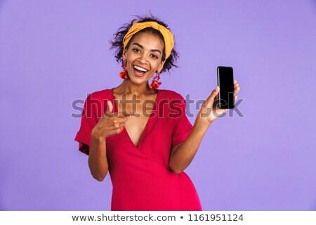 アフリカ · 女性 · スマートフォン · 肖像 · かわいい - ストックフォト © deandrobot