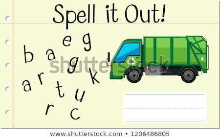Anglais mot ordures camion illustration Photo stock © bluering