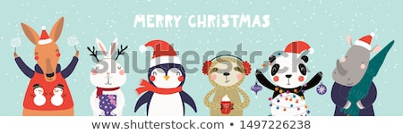 Christmas Cute Little Bunny with Red Scarf. Stock photo © ori-artiste