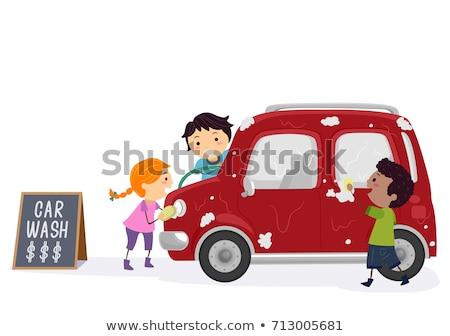 Stickman Kids Car Wash Earn Money Illustration Stock photo © lenm
