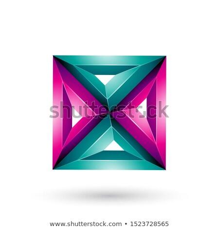 マゼンタ 3D 幾何学的な 広場 三角形 ストックフォト © cidepix