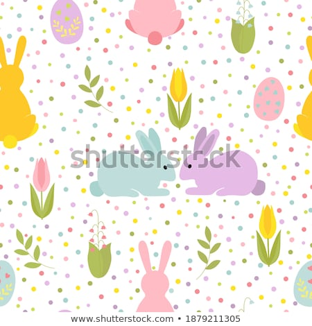 Stok fotoğraf: Pastel Background With Colored Eggs And Lilies To Celebrate East