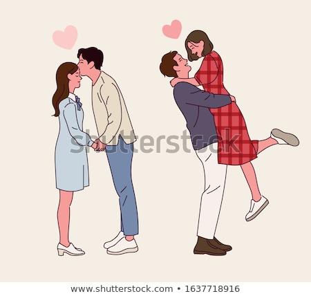 Man vriendin illustratie baard shorts paars Stockfoto © robuart