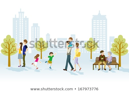 Cheerful People Walking in the City Park Vector Stock photo © robuart