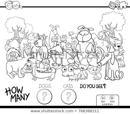 counting game with cats coloring page Stock photo © izakowski