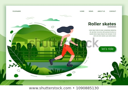 city park web poster with woman riding on roller stock photo © robuart
