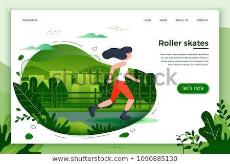 Stockfoto: Stad · park · web · poster · vrouw · paardrijden