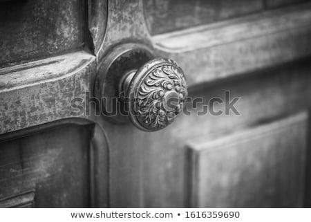 Starożytnych włoski drzwi uchwyt brązowy budynku Zdjęcia stock © marylooo