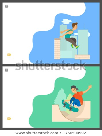 Foto stock: Parkour and Skateboarding Hobby of Teenagers Set