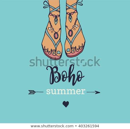 Boêmio verão vetor cartaz sandálias hippie Foto stock © marish