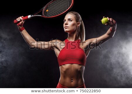 Cheerful young blonde tennis player with racket Stock photo © pressmaster