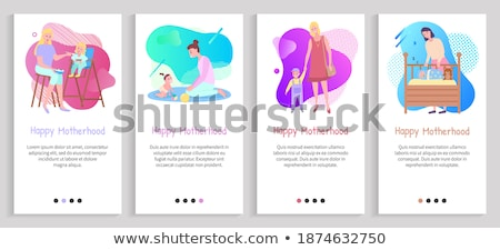 楽しい · 子供 · おむつ · 幼年 · 母性 · ポップアート - ストックフォト © robuart