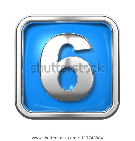 Blue extruded Number 6 SIX 3D Stock photo © djmilic