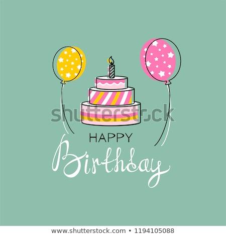 Születésnapi torta kézzel írott képeslap üdvözlőlap dizájn elem buli Stock fotó © Anna_leni