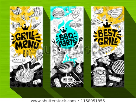 BBQ Party Logo in Flame and Grill Food in Hands Stock photo © robuart