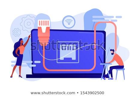 Ethernet connexion affaires table utilisant un ordinateur portable lan Photo stock © RAStudio