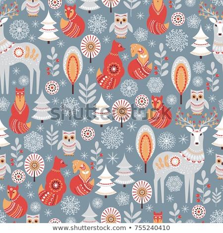 Karácsony aranyos végtelenített vektor minta művészet Stock fotó © RedKoala