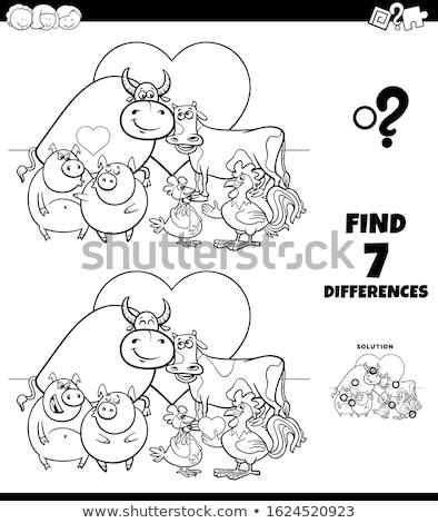 Diferenças jogo animais de fazenda amor desenho animado ilustração Foto stock © izakowski