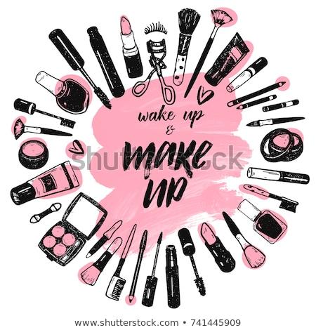 Make up brush cosmetics collection art brush stroke background. Vector Stock photo © Andrei_