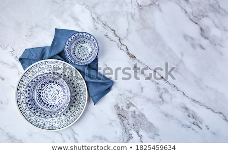 Blue empty plate on marble table flatlay background, tableware d Stock photo © Anneleven