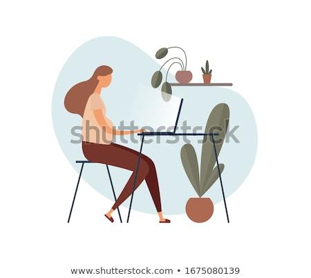Várandós anya nő dolgozik laptop vektor üzletasszony Stock fotó © robuart