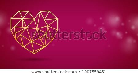 Dourado forma de coração cópia espaço dia dos namorados cartão Foto stock © ShustrikS