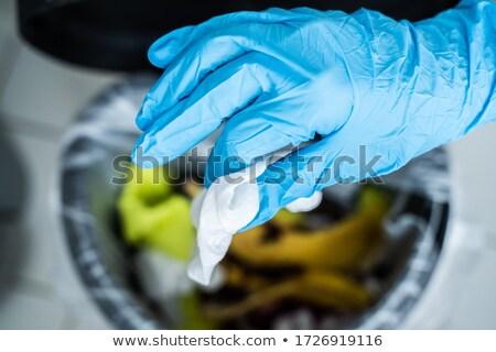 Throwing Away Dirty Sanitizing Wipe Stock photo © AndreyPopov