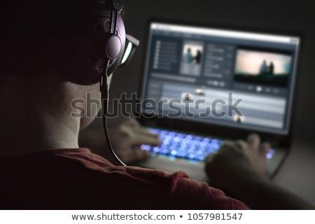 Vídeo editor software computador portátil montagem mulher Foto stock © AndreyPopov