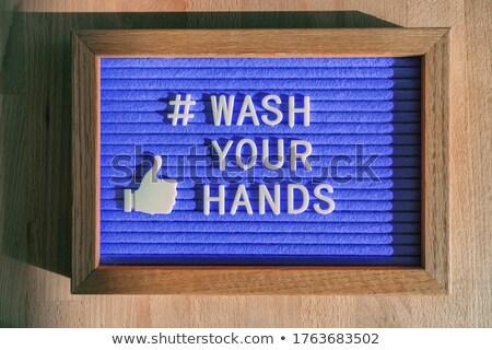 COVID-19 hand hygiene coronavirus message social media text for washing your hands hashtag. Corona v Stock photo © Maridav