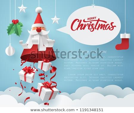 Origami christmas vector kerstboom herten sneeuwvlokken Stockfoto © beaubelle