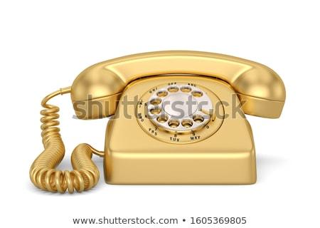 Bağbozumu altın telefon ahşap kutu analog Stok fotoğraf © stoonn