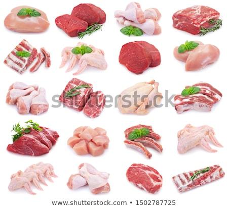 aislado · crudo · bistec · alimentos · cena · carne - foto stock © m-studio