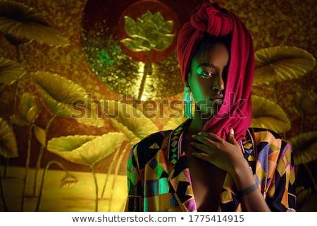 Nő piros ajkak fekete fátyol gyönyörű nő füstös Stock fotó © lubavnel