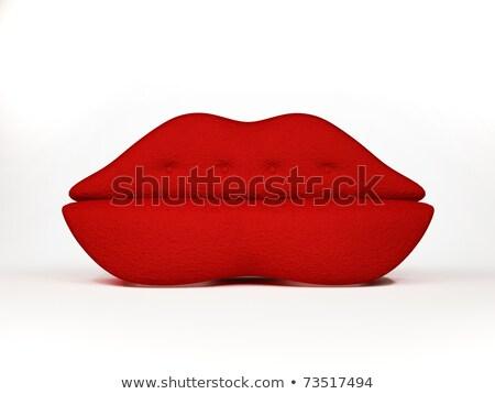Stock Photo: Red Lips Sofa On White Background