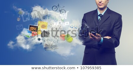 Businessman using touch screen mobile phone with streaming image Stock photo © vlad_star