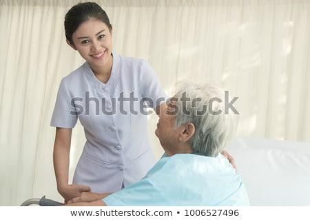 старший · Lady · ходьбе · , · держась · за · руки · женщину - Сток-фото © photography33