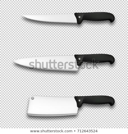 Szakács kés kalap fehér póló személy Stock fotó © photography33