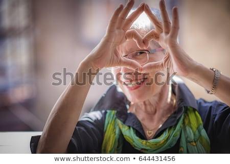 boldog · idős · nő · izolált · fehér · mosoly - stock fotó © Kurhan