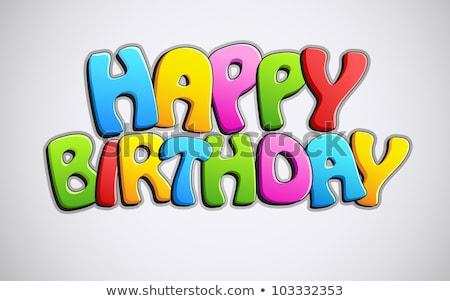 Abstract Glossy Happy Birthday Text Stockfoto © Vectomart