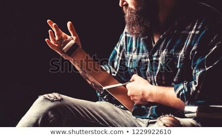 Stock fotó: Klasszikus · borotva · izolált · fehér · háttér · fém