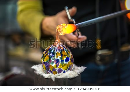 ハンドメイド ガラス 水 レストラン 表 赤 ストックフォト © cheyennezj