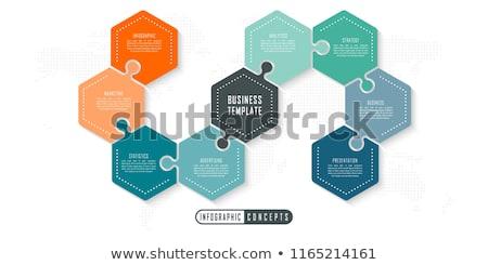 Puzzle organigramme image bleu blanche graphique Photo stock © cteconsulting