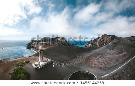 Stockfoto: Vulkaan · licht · huis · eiland · hemel · water