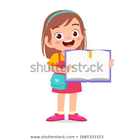 mosolyog · lány · hordoz · könyvek · boldog · mosolygó · nő - stock fotó © kalozzolak