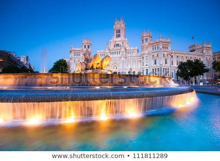 Сток-фото: фонтан · Мадрид · Испания · здании · город · синий